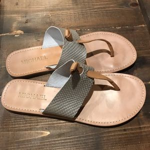 Tan and Silver Flip Flops by Michael Shannon